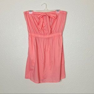 J Crew | Pink Coral Strapless Dress with Pockets